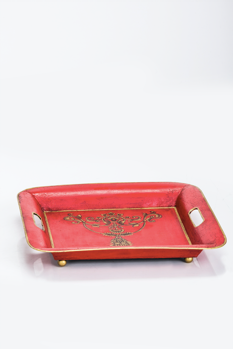 Viraya Red Flower hand painted Square Tray Small