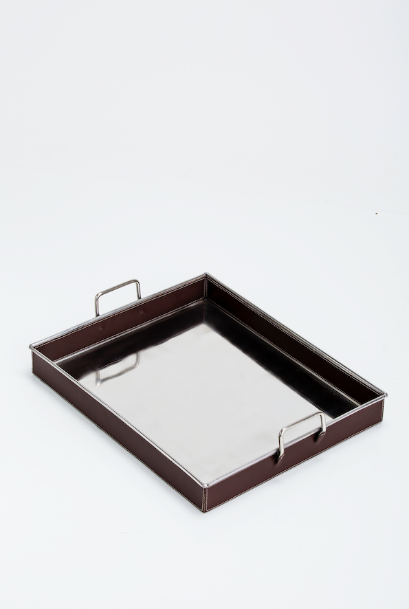 Barnet Serving Steel/LeathriteTray