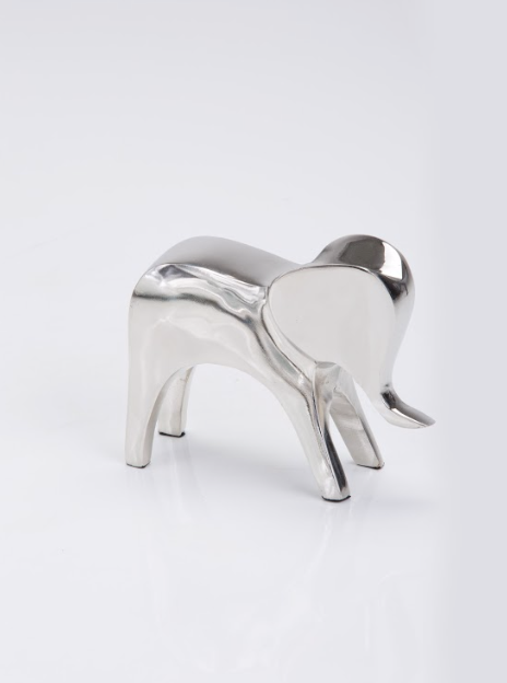 Geometric Elephant Sculpture nickel