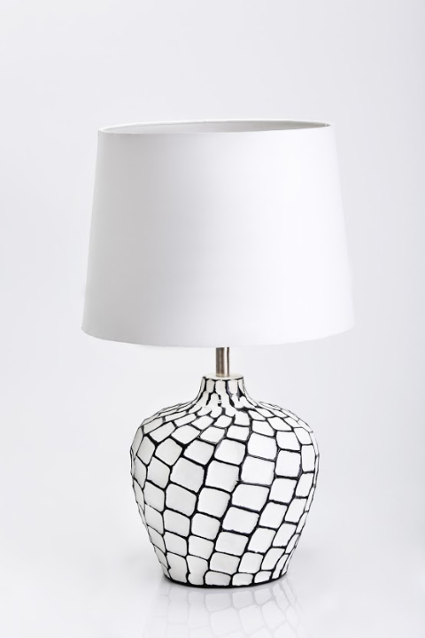 Ebony Ivory enameled drum lamp