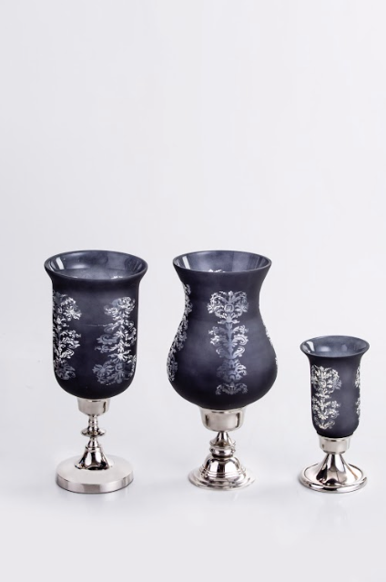 Surya Black Etched Hurricane Candle Stand