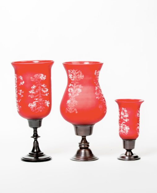 Rivaya Red Engraved Hurricane Candlestand.