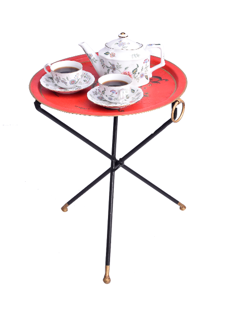 Viraya Red Ornate Flower hand painted Tripod Table stand