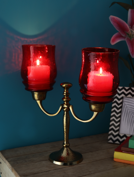 Victoria Red Two Lite Hurricane Candle stand