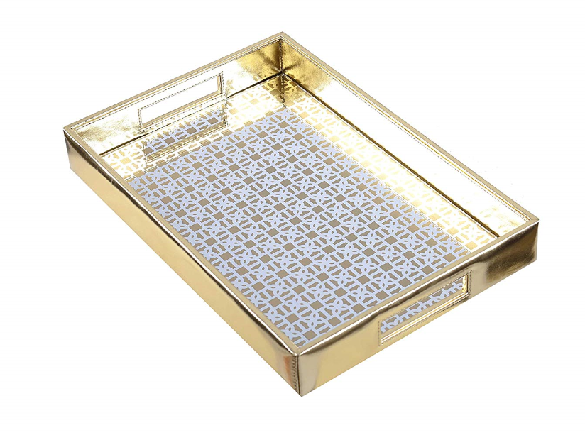 Mysore gold Pattern Glass Printed Leatherite Tray Rectangle