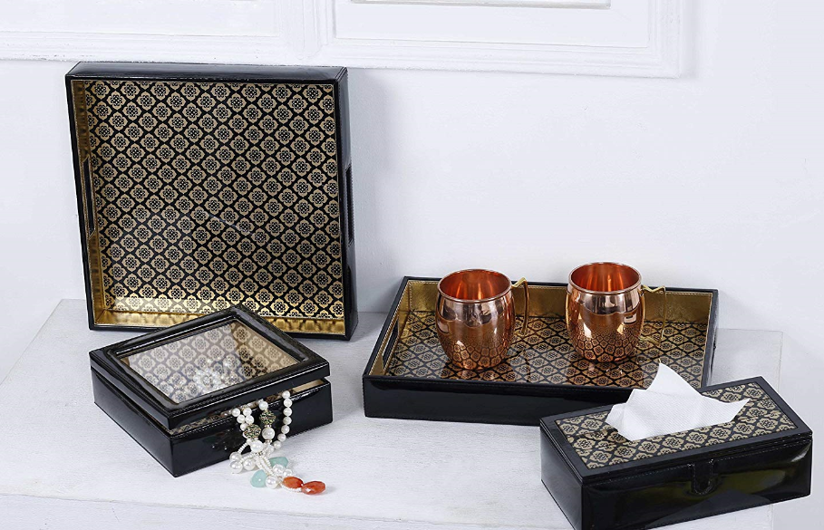 Jaisalmer Rectangle black & gold Pattern Glass Printed Leatherite Tray