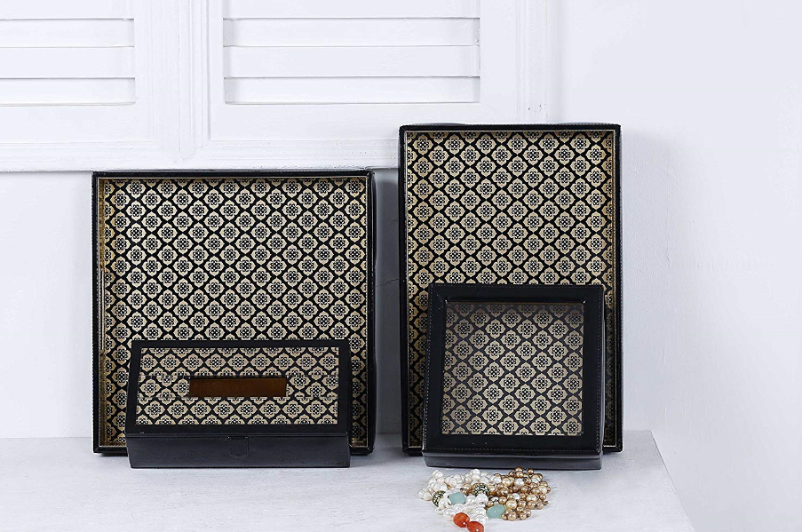 Jaisalmer square black & gold Pattern Glass Printed Leatherite Tray