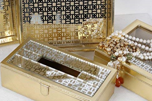 Mysore gold Pattern Glass Printed Leatherite tissue box