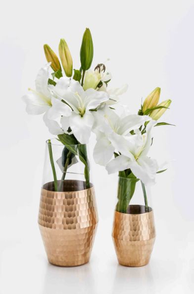 Adora Honey Comb Pattern Gold Vase