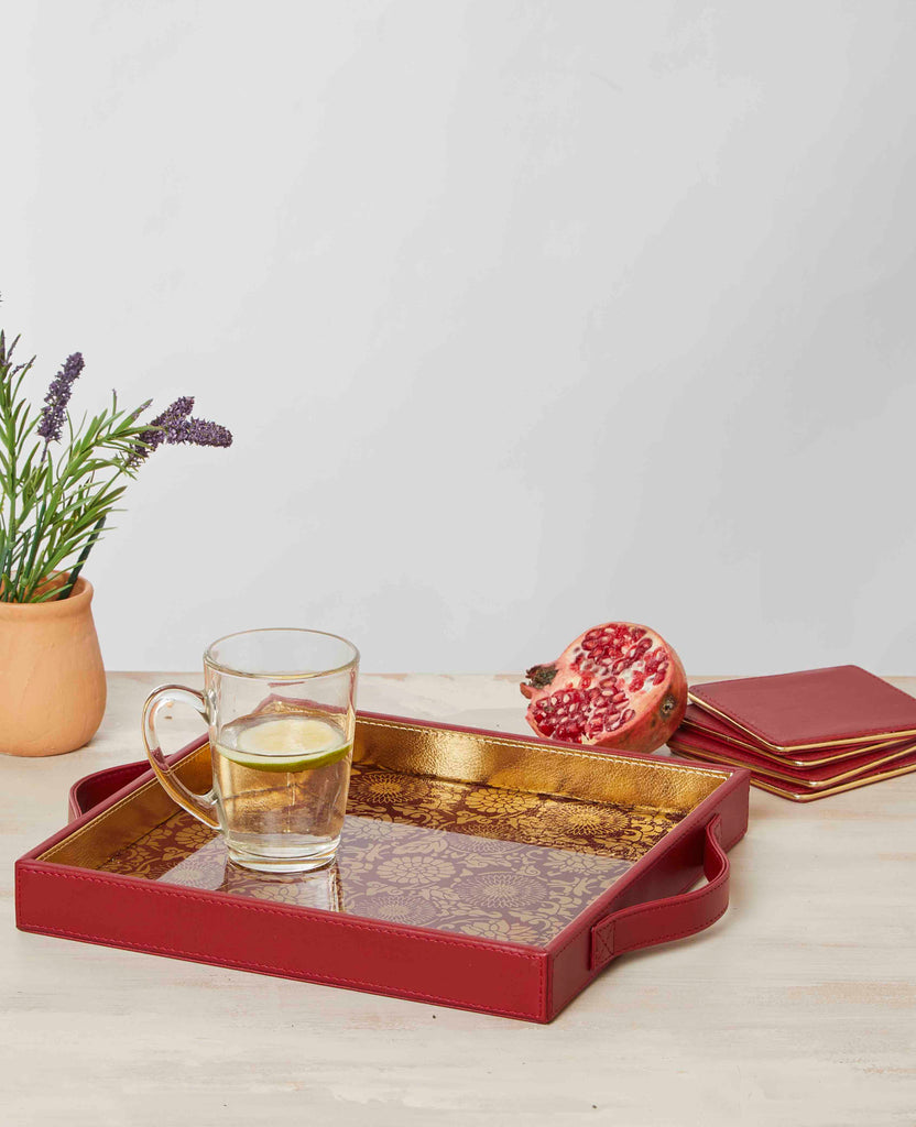 Malabar Ruby Red & Gold Square Tray