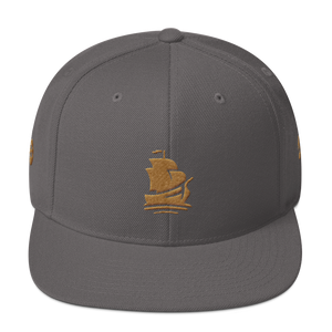 Pirate Ship Gold Snapback Hat