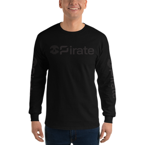 Pirate Skull Black with Sleeve Print Long Sleeve T-Shirt