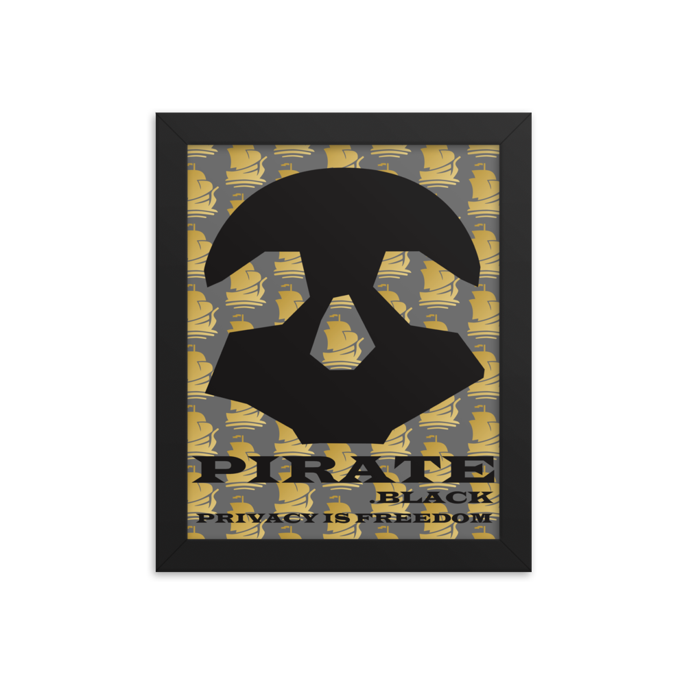 Pirate Black Privacy is Freedom Framed poster