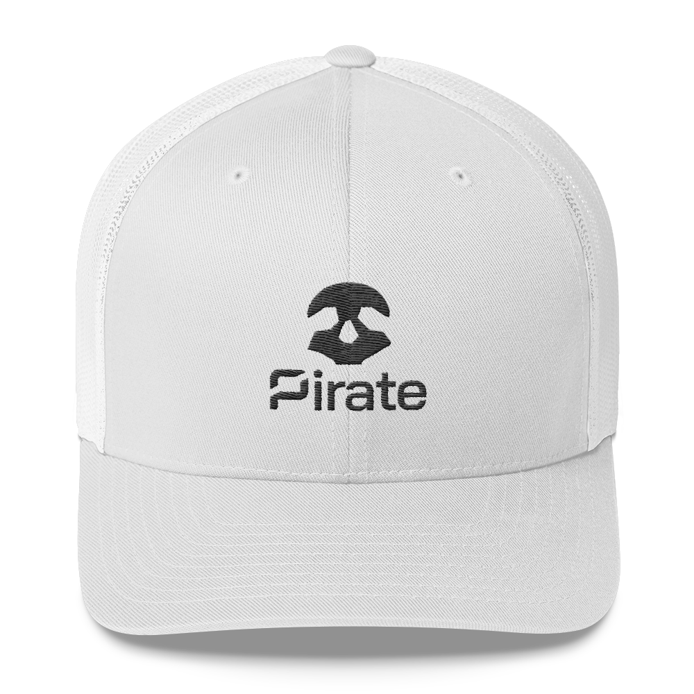 Pirate Skull Black Trucker Cap