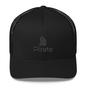 Pirate Ship Black Trucker Cap
