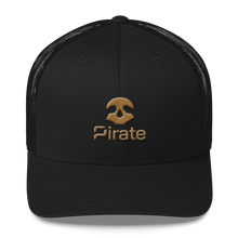 Load image into Gallery viewer, Pirate Skull Gold Trucker Cap