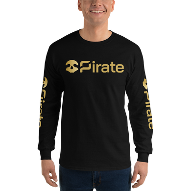 Pirate Skull Gold with Sleeve Print Long Sleeve T-Shirt
