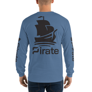 Pirate Ship Black with Sleeve Print Long Sleeve T-Shirt