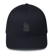 Load image into Gallery viewer, Pirate Ship Black Structured Twill Cap