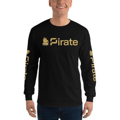 Pirate Ship Gold with Sleeve Print Long Sleeve T-Shirt
