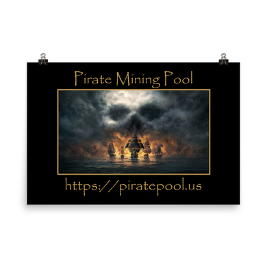 Pirate Mining Pool Skull and Ships Photo paper poster