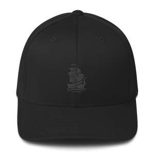 Pirate Ship Black Structured Twill Cap