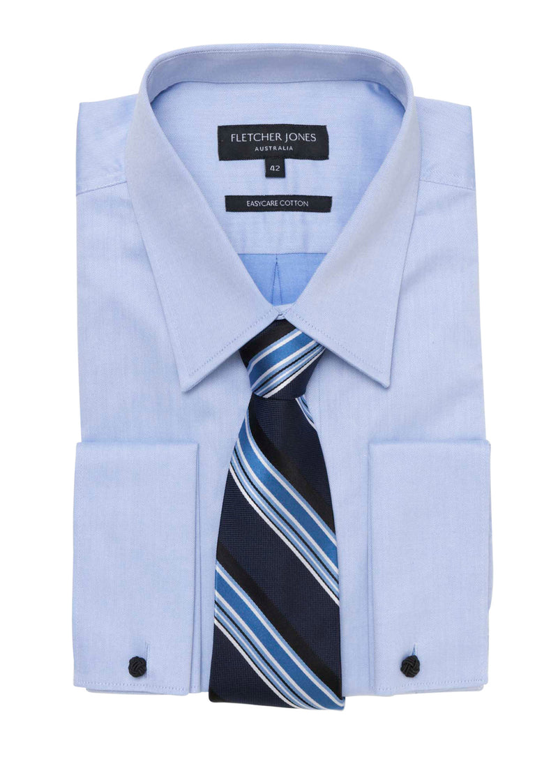 BENTLEY BLUE TWILL FRENCH CUFF BUSINESS SHIRT