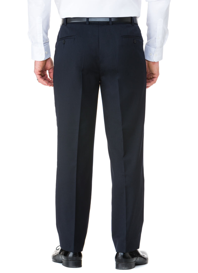 AVOCA WOOL RICH PLEATED TROUSER - NAVY
