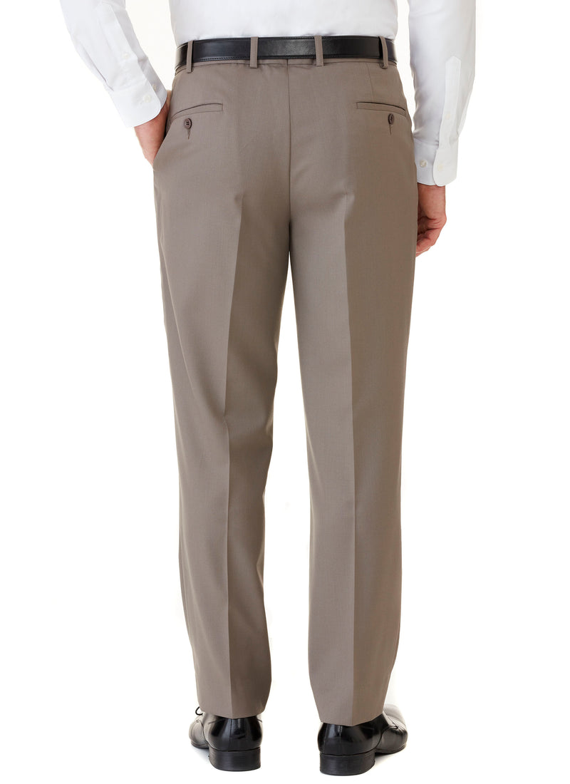 AVOCA WOOL RICH PLEATED TROUSER - TAUPE