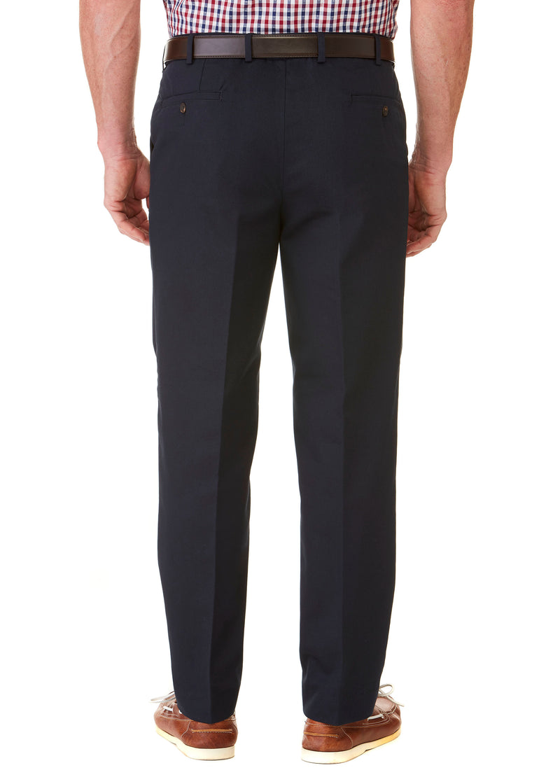 BALGOWAN PLEATED FLEXIWAIST TROUSER - NAVY