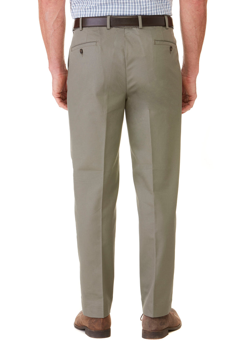 BALGOWAN PLEATED FLEXIWAIST TROUSER - OLIVE