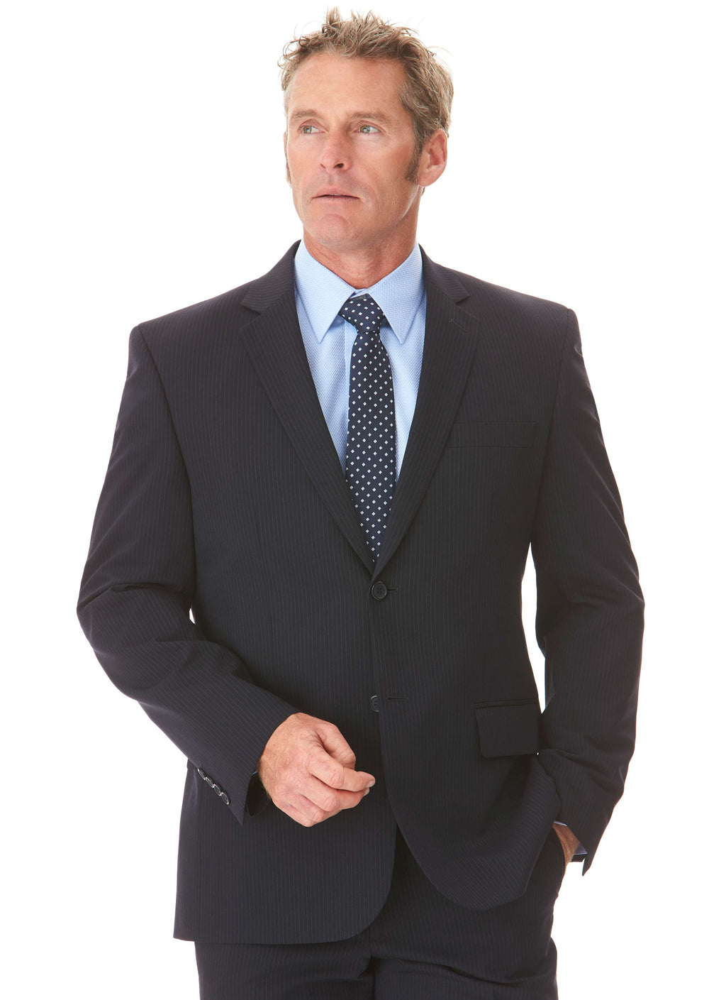 EILDON CONTEMPORARY FIT SUIT JACKET - NAVY PINSTRIPE