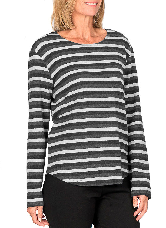 FORREST BLACK & GREY STRIPE LONG SLEEVE TOP