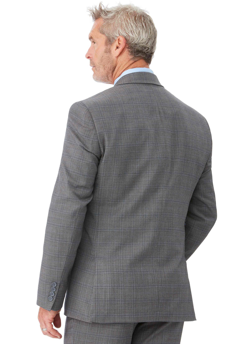 GISBORNE CONTEMPORARY FIT SUIT JACKET - ASH CHECK