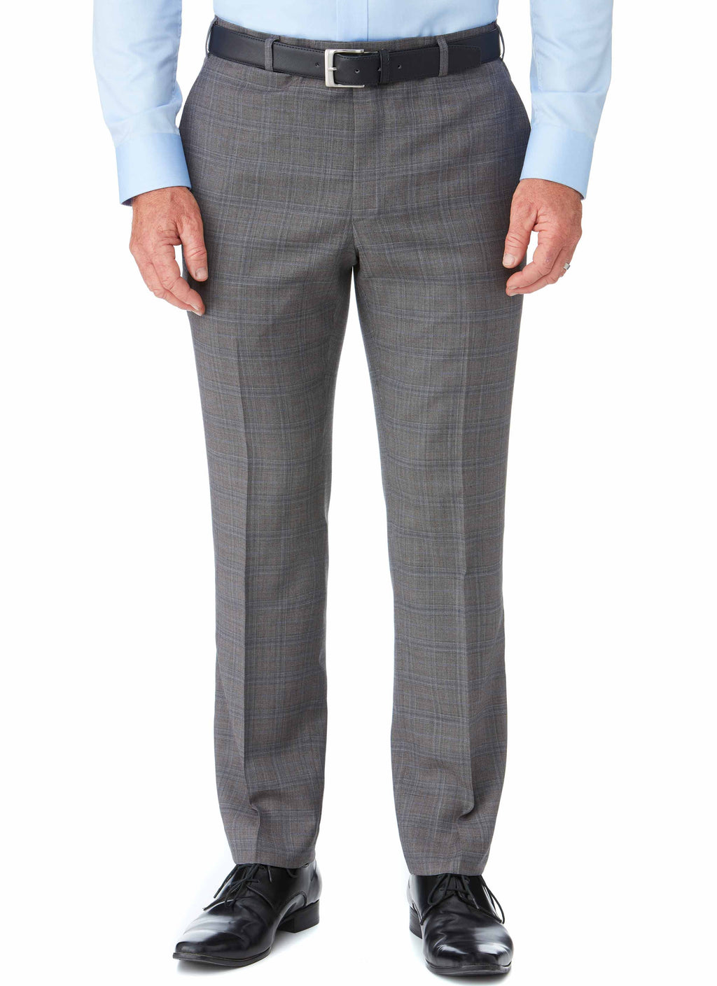 GISBORNE CONTEMPORARY FIT TROUSER - ASH CHECK