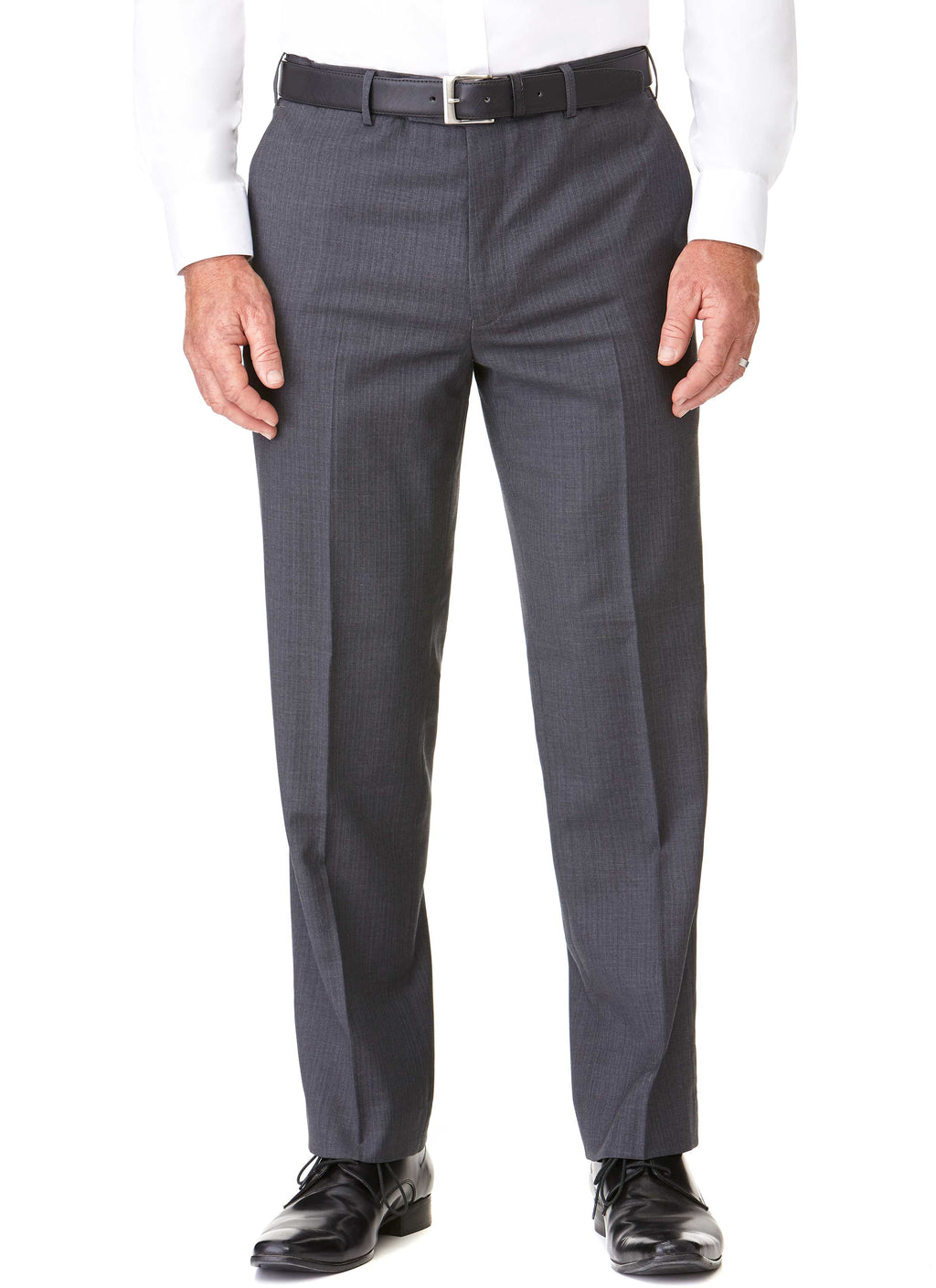 HOTHAM FLAT FRONT TROUSER - GREY SELF STRIPE