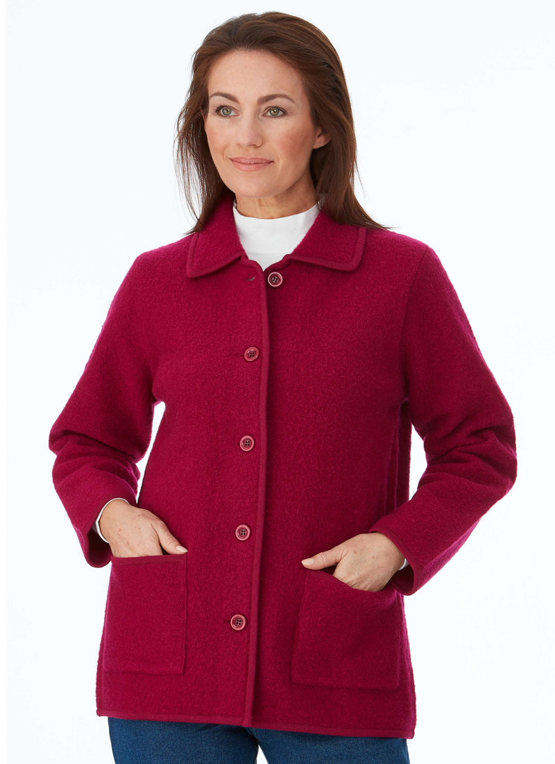 MAYDENA BOILED WOOL JACKET AZALEA
