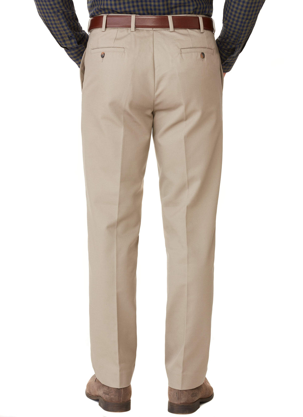 STANSBURY FLAT FRONT FLEXIWAIST TROUSER - BISCUIT