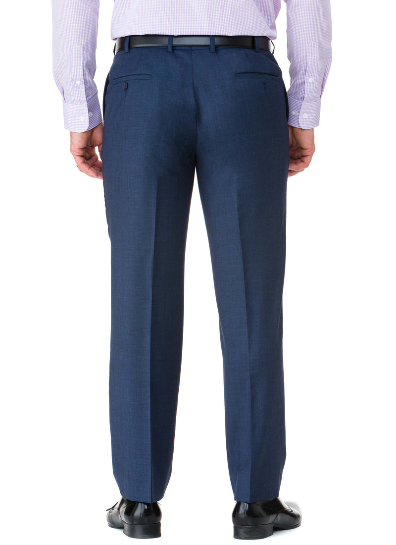 NOOJEE FLAT FRONT MID-BLUE SUPER 100'S PURE WOOL TROUSER