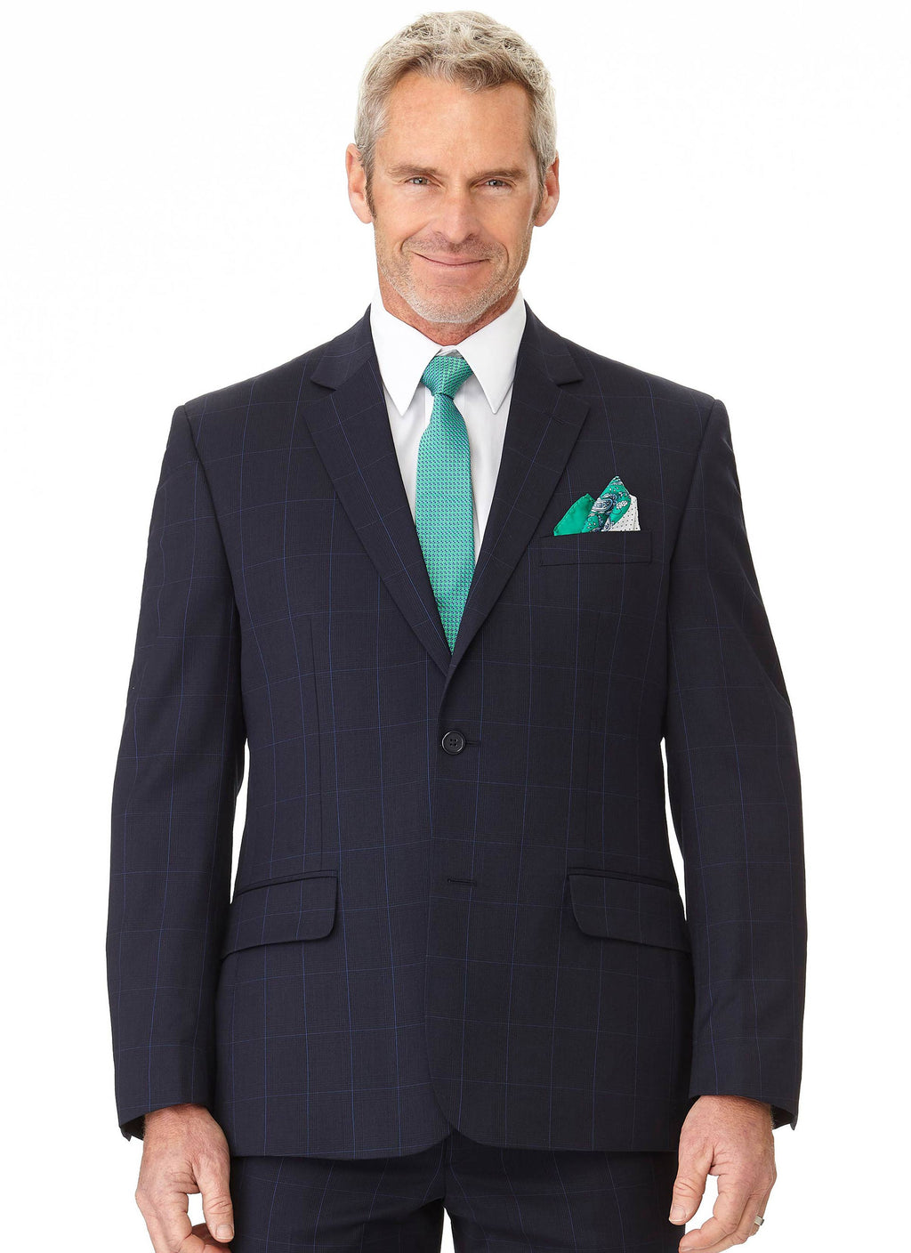 OTWAY CONTEMPORARY FIT JACKET - NAVY WINDOWPANE