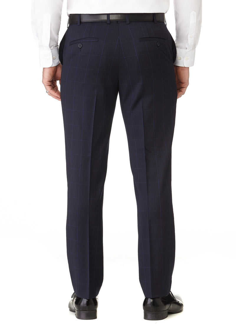 OTWAY CONTEMPORARY FIT TROUSER - NAVY WINDOWPANE