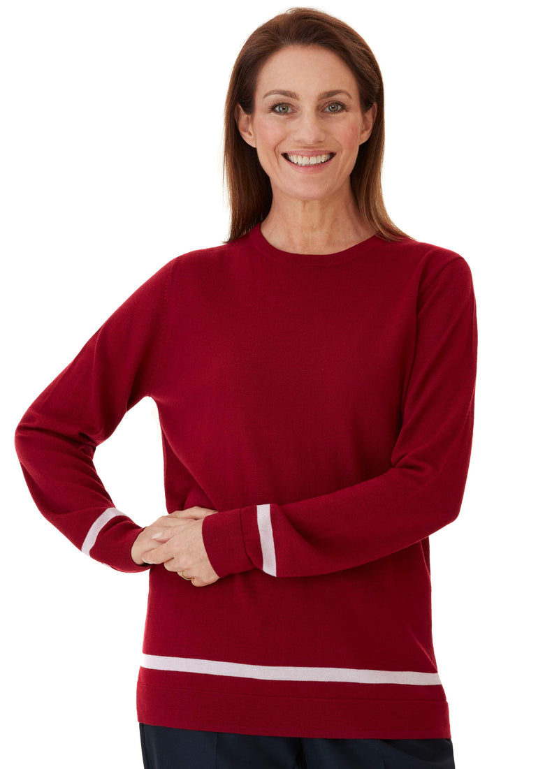 ROWELLA RUBY JERSEY CONTRAST STRIPE PULLOVER