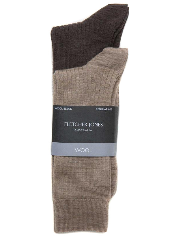 TWIN PACK WOOL BLEND SOCKS