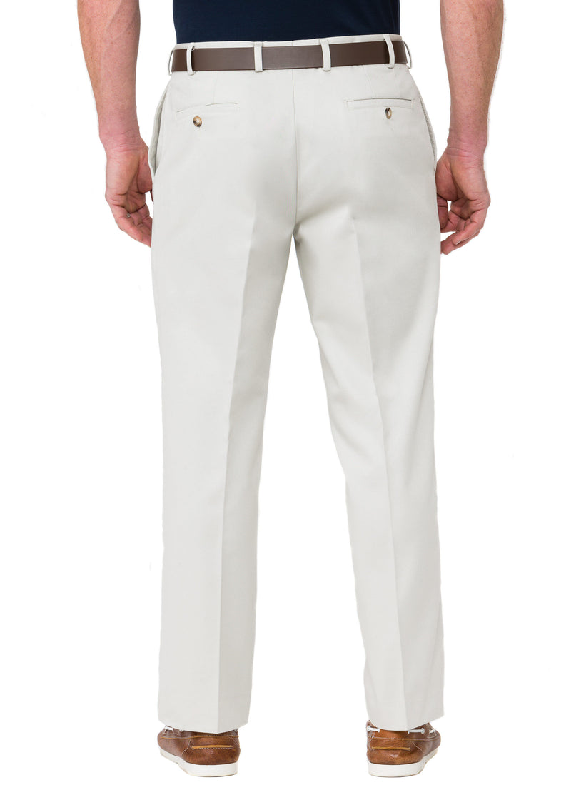STANSBURY FLAT FRONT FLEXIWAIST TROUSER - STONE