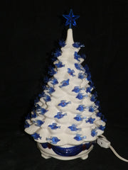 "13""  Gloss Glazed White Tree with Ribbon Base & Blue Bird Lights & Star"