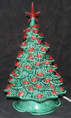 "11"" Hand Painted Emerald Green Christmas Tree"