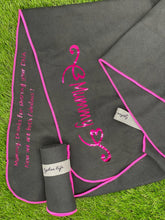 Load image into Gallery viewer, Personalised Microfibre Gym Towel in Black with Hot Pink Trim