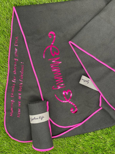 Personalised Microfibre Gym Towel in Black with Hot Pink Trim