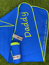 Load image into Gallery viewer, Personalised Microfibre Gym Towel in Electric Blue with Lime Trim