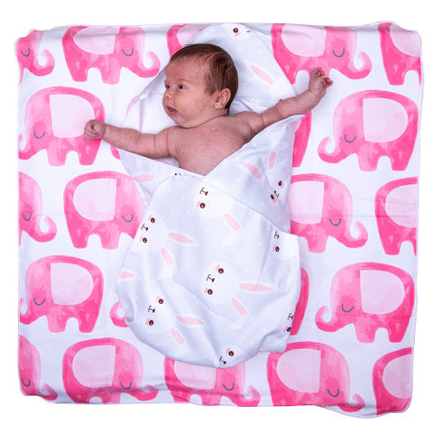 Microfibre hooded baby towel - Pack of 2 - Bunny ears / Pink ellies in gorgeous re-usable monogrammed gift bag